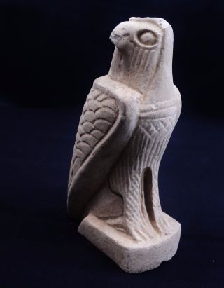 Huge Ancient Egyptian Carved Limestone Horus Statue As Falcon 664 Bc - 332 Bc photo