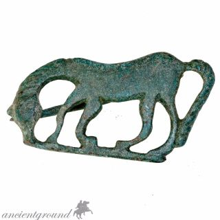 Museum Quality 300 Ad Roman Bronze Horse Fibula Brooch photo