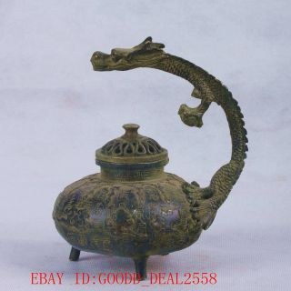Chinese Bronze Handwork Carved Dragon&cover Incense Burner Qt043 photo