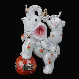 Chinese Colorful Porcelain Hand - Painted Elephant Statue C359 photo