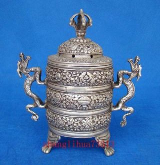 Antique Handmade Carving Copper Silver Ssangyong Incense Burners photo