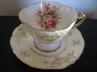 Hammersley Cream Multi Colored Floral Teacup And Saucer photo