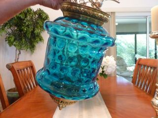 Victorian Hanging Hall Lamp Blue Glass photo