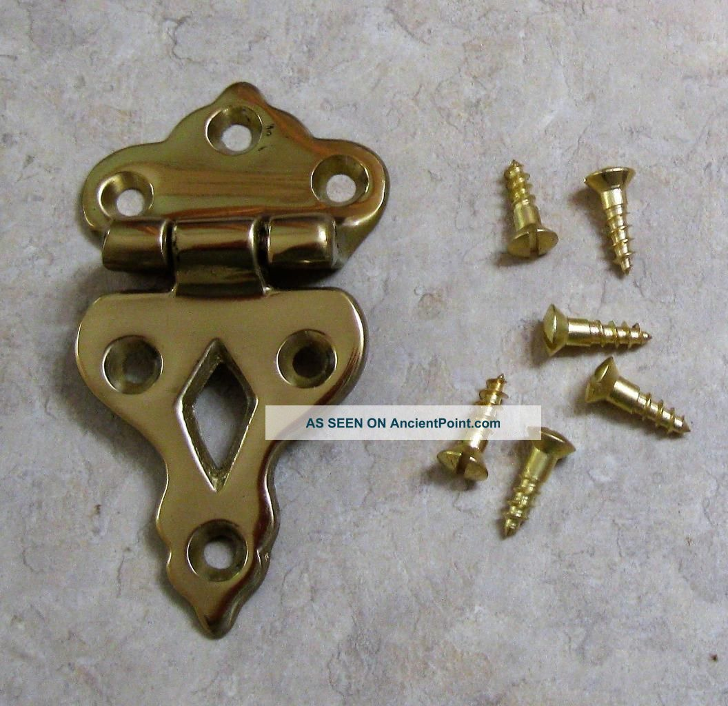 2 White Clad Brass Ice Box Refrigerator Hinges Hardware Offset 3/8