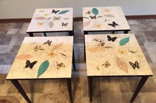 4 Vintage Mid Century Modern Biltmore Butterfly Stacking Nesting Tables photo