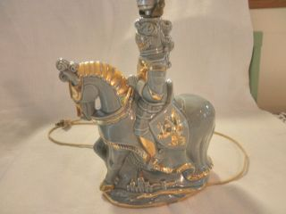 Vintage Figurine Statue Lamp Knight On Horse Retro Mid Century Modern Light photo