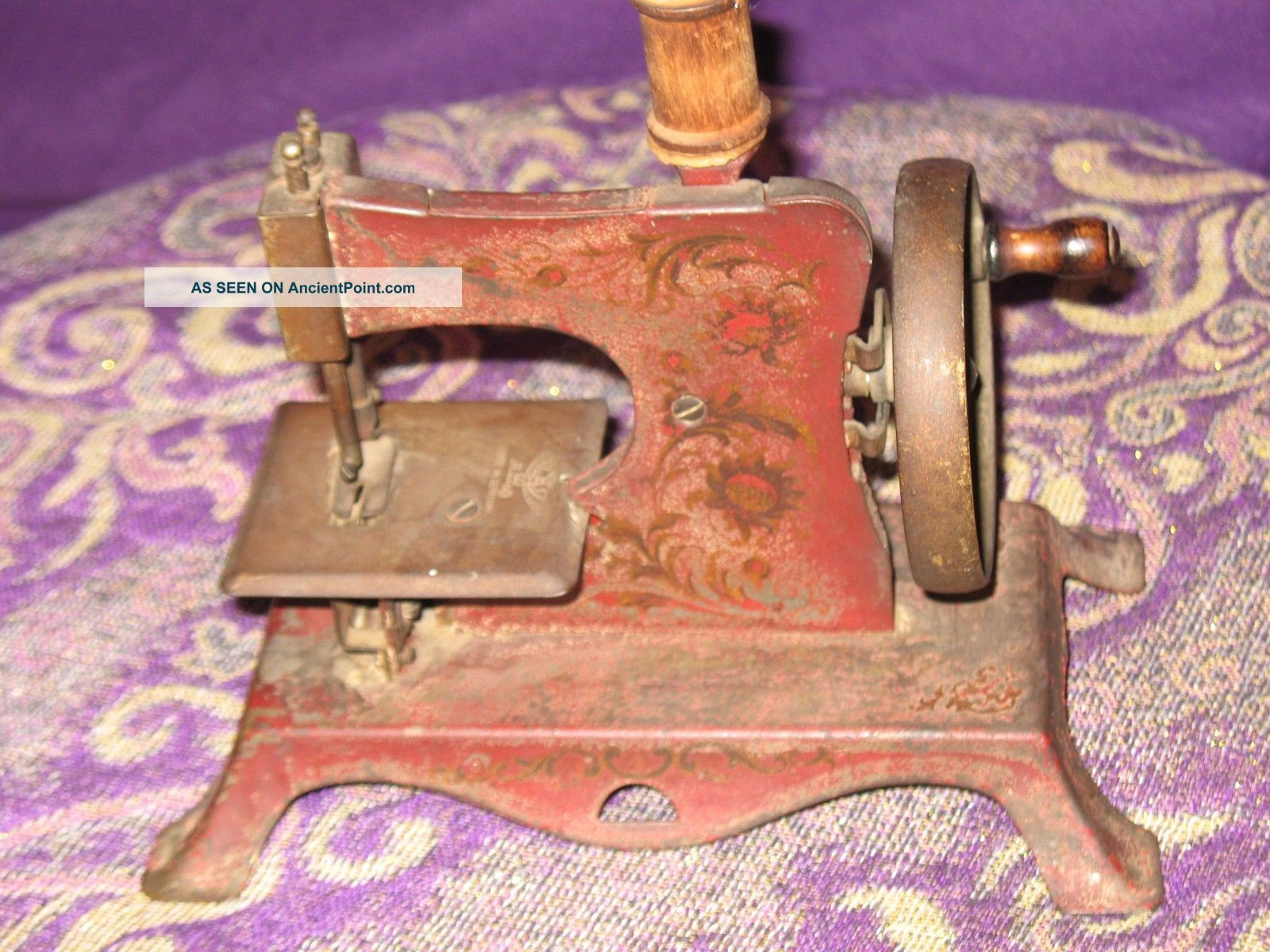 Antique Germany Child ' S Red Hand Crank Sewing Machine Primitive Sewing Machines photo