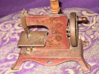 Antique Germany Child ' S Red Hand Crank Sewing Machine Primitive photo