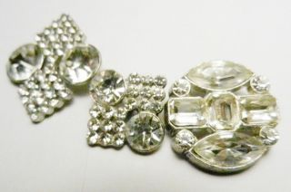 3 Antique Silvertone Crystal Rhinestone Open Back Gold Foil Buttons photo
