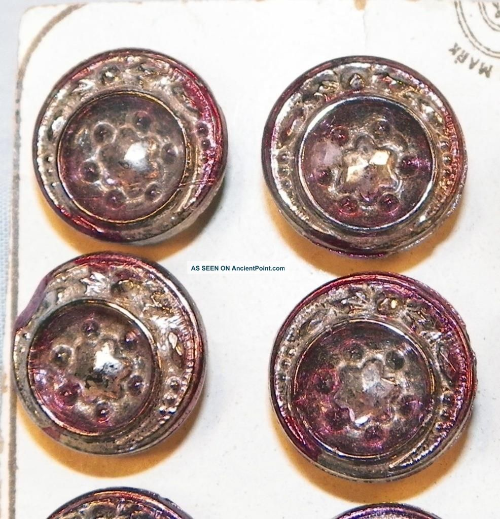 24 Victorian Glass Buttons Silver Purple Luster Pressed Stars On Card Antique Buttons photo