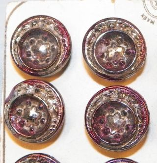 24 Victorian Glass Buttons Silver Purple Luster Pressed Stars On Card Antique photo