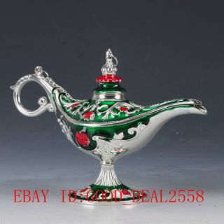 Chinese Decorative Cloisonne Handwork Carved Aladdin Lamp Statue Qw0338 photo