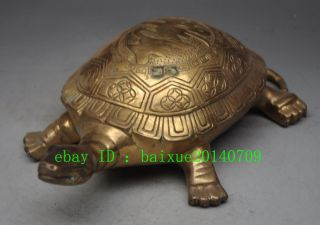 China Folk Feng Shui Brass Copper Longevity Turtle Tortoise Statue Sculpture photo