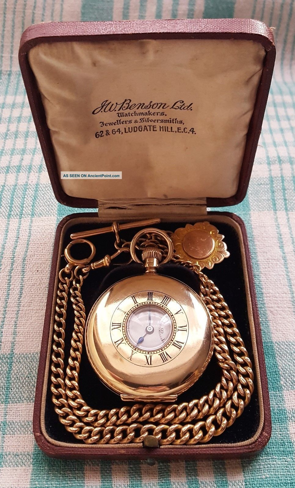1926,  Jw.  Benson,  9ct Gold,  17 Jewel Half Hunter Pocket Watch,  9ct Albert Chain & Fob Pocket Watches/Chains/Fobs photo