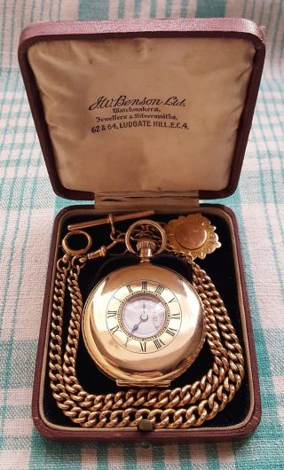 1926,  Jw.  Benson,  9ct Gold,  17 Jewel Half Hunter Pocket Watch,  9ct Albert Chain & Fob photo