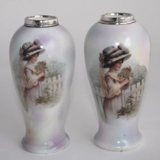 1913 Bud Vases W Sterling Silver Collars - Henry Perkins & Son - Lady photo
