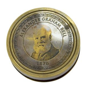 Handmade Marine Alexander Graham Bell 1870 Pocketcompass With His History Inside photo
