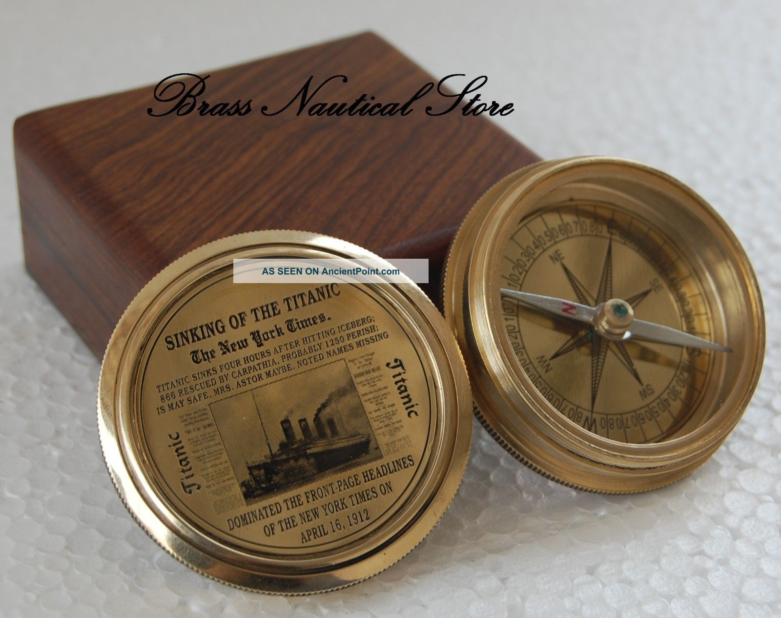 Poem Antique Style Brass Nautical Brass 1885 Poem Compass Collectible Gift @ Compasses photo