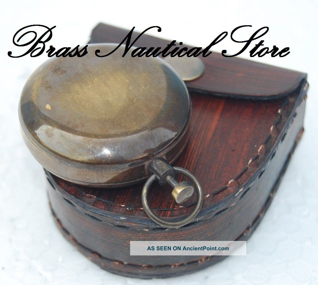 Antique Brass Push Button Compass - Mini Sundial Compass - Pocket Compass See more Antique Brass Push Button Compass-mini Sundial... photo