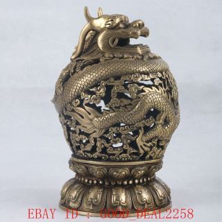 Old Braas Hand Carved Hollow Furnace Dragon With Ming Xuande Mark photo