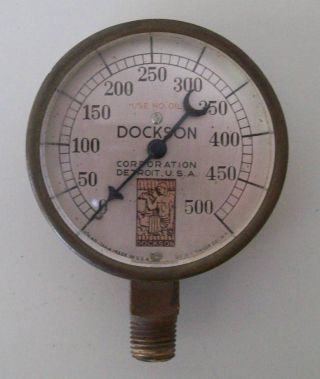 Vintage Early Brass & Copper Dockson Steam Us Gauge Detroit Usa Steampunk App photo