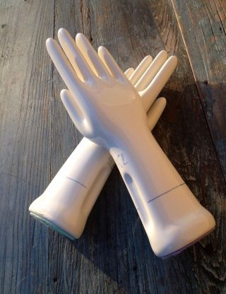 2 Porcelain Sculpture Glove Hand Molds,  General Porcelain,  Left & Right,  Sz 71/2 photo
