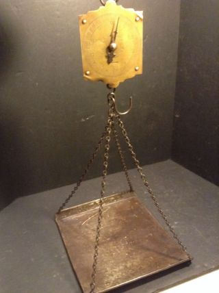Circa 1900 Antique Chatillion Brass Face Half Size Hanging Produce Scale W/tray photo