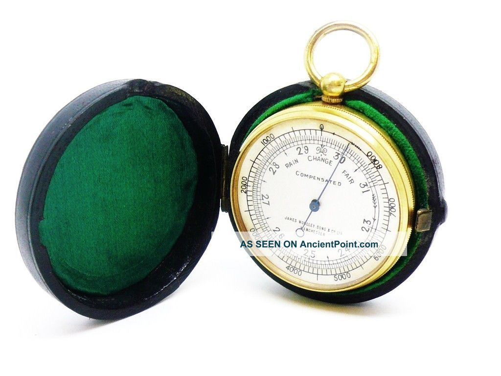 Antique Pocket Barometer,  James Woolley Of Manchester,  Cased,  C.  1900 Other Antique Science Equip photo