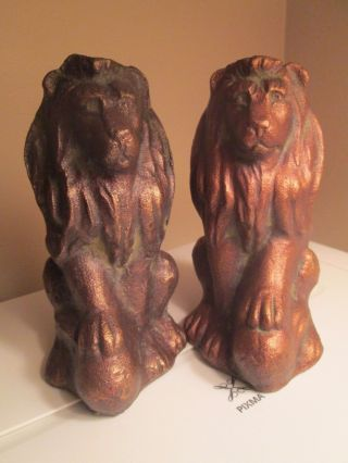 Vintage Pair Cast Iron Sitting Lions Paw On Ball Bronze Gold Finish Statues 6.  5