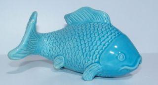 Vintage Koi Fish Porcelain Blue 1960 Fish Tank Decoration Japan ? Asian Rare photo