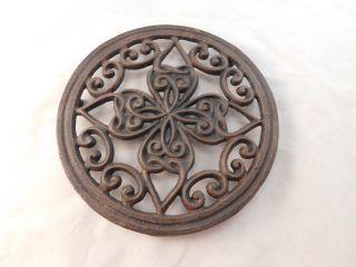 Antique Cast Iron Heart And Scroll Triveit - Circa 1900 photo