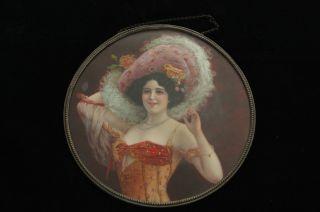 Vintage Victorian Woman In Huge Hat Colorful Dress Portrait Flue Cover photo