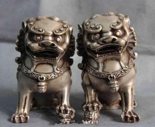 Chinese Folk White Copper Silver Fengshui Evil Foo Dog Lion Beast Statue Pair photo