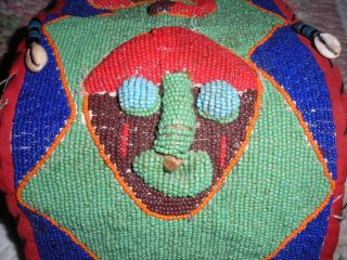 Yoruba From Nigeria,  Beaded Diviner ' S Belt,  Red & Green,  Vintage photo