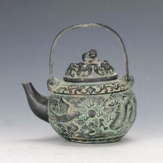 Chinese Antique Bronze Hand Carved Dragon & Phoneix Pattern Teapot photo