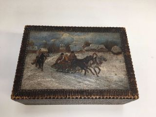 Antique Vintage Russian Carved Painted Folk Art Wood Box photo