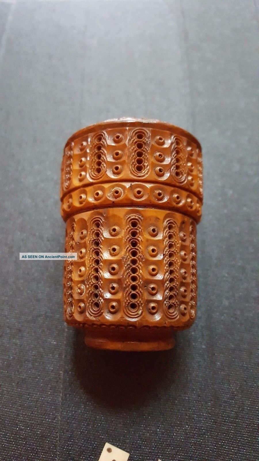 Antique Victorian Coquilla Nut Cylinder Hand Carved Sewing/ Needle Case Needles & Cases photo