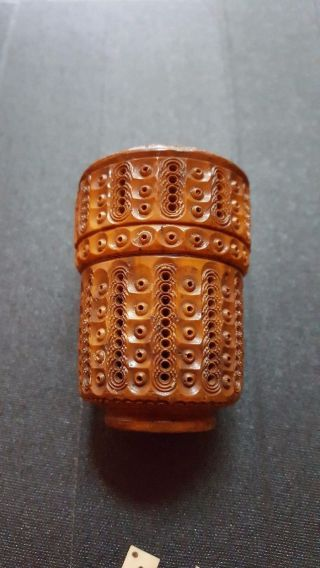 Antique Victorian Coquilla Nut Cylinder Hand Carved Sewing/ Needle Case photo