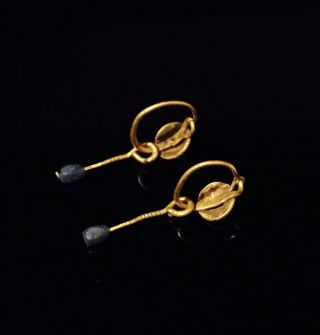 A Ancient Roman Gold Earrings With Blue Glass Beads,  Elegant Jewellery photo