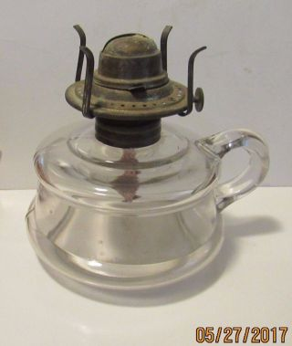 Antique Oil Lamp With Handle And Burner photo