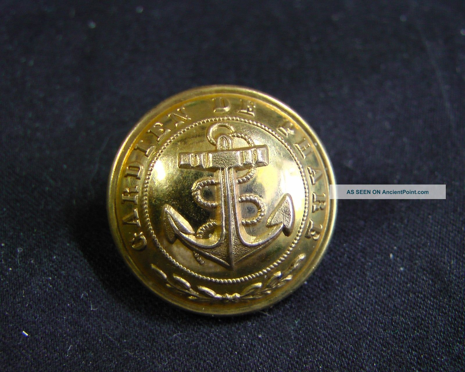 C.  1890 French Lighthouse Keeper Gardien De Phare 22mm Gilt Button Superieur Buttons photo