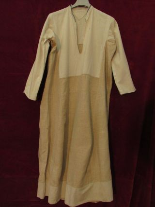 Antique Hand Woven Robe Folk Costume Dress Bulgarian Linen Lace Chemise photo