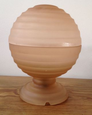 Art Deco Frosted Peach Glass Bagley Globe Lamp photo