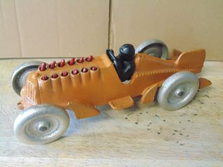 Vintage Hubley Cast Iron Orange Road Race Car Moving Flame Red Pistons photo