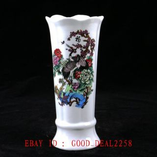 Old Chinese Porcelain Handwork Painted Lotus&calligraphy Vase With Qianlong Mark photo
