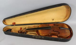 Antique 4/4 Figured German Violin W/ Abraham Lincoln Transfer Back,  Nr photo