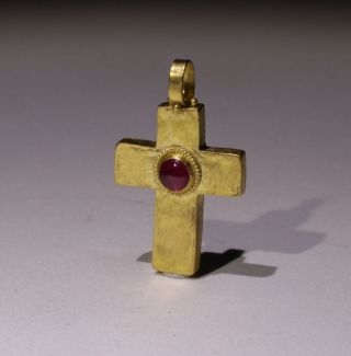 Lovely Ancient Roman Gold Cross - Circa 2nd - 5th Ad photo