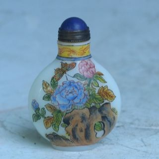 China Exquisite Hand - Painted Lotus Flower Butterflie Pattern Glass Snuff Bottle photo