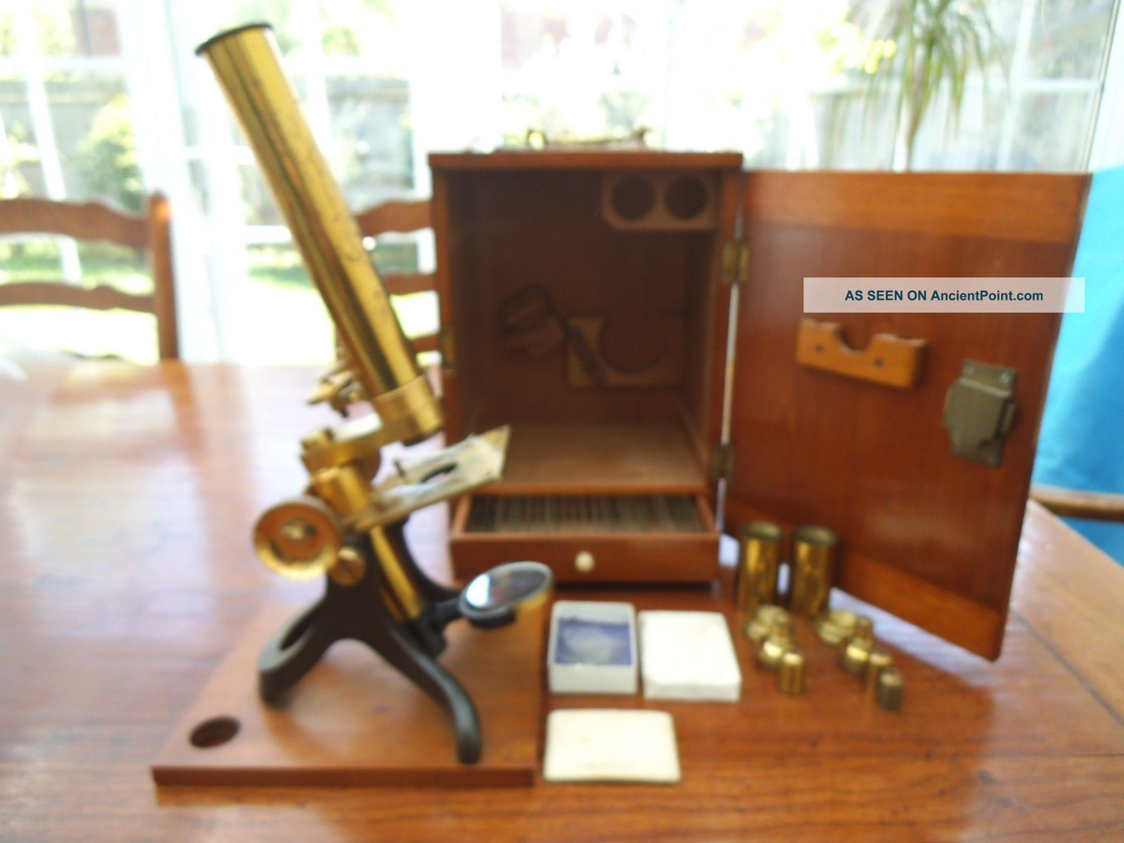 Antique Brass Microscope Other Antique Science Equip photo