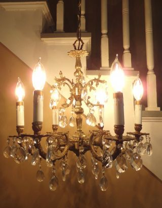 Vintage Regency 1960 ' S Spanish Brass 6 Arm Light Chandelier Sparkling Prisms Vgc photo